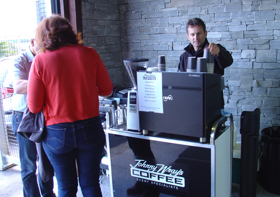 Johnny Wray's Coffee can set up in-doors or outside. We can either plug into an existing power outlet, or we can provide our own power from our stand-alone generators.